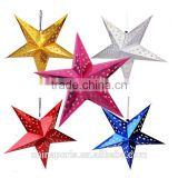 2015 good quality and competitive price Christmas five-pointed star with laser paper