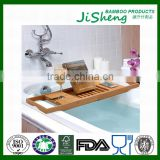 100% Bamboo Bathtub Caddy with Extendable Sides, Cellphone Tray & Integrated Wine glass Holder