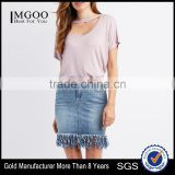 MGOO China Manufacturer Blank Organic Cotton T Shirts Woman Deep V Neck Batwing Sleeve T-shirt