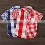 2017 Spring fashion plaid blouse for children wear wholesale fashion boys shirt short sleeves