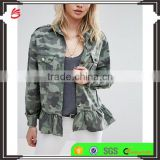 Hot sale new design women military jacket wholesale lady printed jeans Camo denim jacket with frill hem
