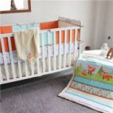 CUTE FOX Design Baby Crib Bedding Set With Bumper, Fitted Sheet, Diaper Stacker, Cushion,quilt Set