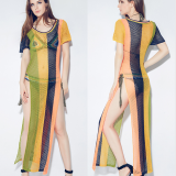 Open Knit Striped Side Slit Cover up Maxi Dress