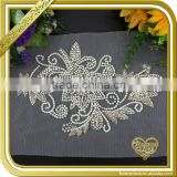 Wholesale pearl beaded lace rhinestone crystal trim bridal appliques FHA-029
