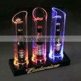Wholesale nice acrylic beer bottle display rack with LED lights for advertisement display