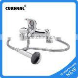Modern Chrome Deck Mounted Bathroom Single Lever Bath Shower Mixer Kit Tap including Handset Wall Bracket