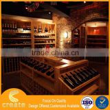 Retro Wood display showcase rack for retail red wine store with wood veneer