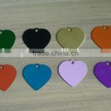colorful aluminum heart blank pet dog collar tag cheaper wholesale