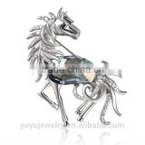 Beautiful white setting brooch horse pony