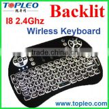 TOPLEO Touch Pad I8 Backlight Wireless Keyboard Black and White Color 2.4 Ghz Wireless Air Fly Mouse