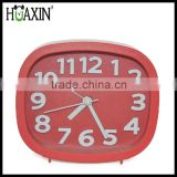 wholesale cheap promotional plastic clock with logo imprinted,colourful desktop alarm clock
