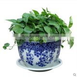 2016 Garden pot chinese ceramic blue and white flower pot with different sizes                                                                                                         Supplier's Choice