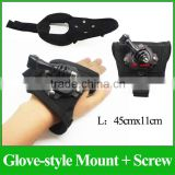 GP127L Outdoor 360-degree Rotation HQS Creative Glove-style Mount with Screw for Go Pro Hero3+/3/2/1 Camera SJ4000