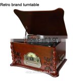 Nostalgia desktop Retro wooden music system Turntable Radio CD MP3 USB Player AUX IN with Remote Control