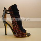 Nobile black peep toe genuine leather fashion stiletto fancy heel sandals are square toe shoes in style