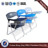 Folding metal leg training plastic chair with writing board and basket (HX-TRC041)