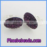 Wholesale Grape Purple Crystal Pave Silver Plated Cute Clip Earrings For ladies PEA08