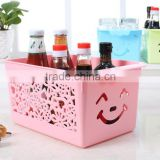 plastic lovely and colorful storage box/storage basket/bathroom storage basket/rattan basket