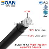 Tree Wire Cable, 15 kv 2-Layer ACSR, ACSR/XLPE/HDPE (ANSI/ICEA S-66-524)                                                                         Quality Choice