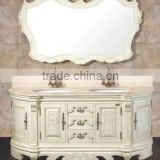 Travertine marble Antique single sink wooden mirror and vanity top with Baltic Brown/Classic solid wood bathroom vanity