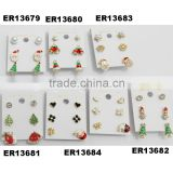 yiwu cute santa tree bell snowman stud jewelry crystal metal christmas earrings wholesale