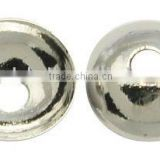 Brass Bead Caps, Plated, Silver Color, Size: about 6x1.7mm, hole: 0.5mm, 5000pcs/bag(KK-H052-S-1)