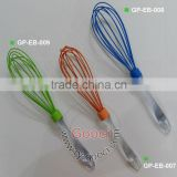 Random Color Silicone Whisk Baking Tool Kitchen Utensil Baking clear San Plastic handle