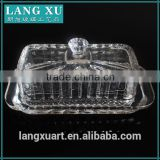 LX-H005 handmade crystal clear press square glass butter dish                                                                         Quality Choice