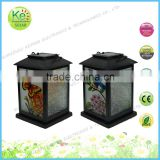 Metal lantern with glass butterfly pattern Solar LED table light