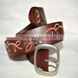 genuine leather cowhide leather embroidered design with stud leather belt