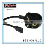 H05VV-F3*0.75 electrical wire British three pins plug with AC power cord UK Power Cable/UK Type Plug BS approval non-rewireable