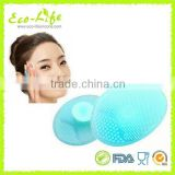 Wholesale Safe silicone face washing brush with PP Plastic Box packaging, baby hair brush