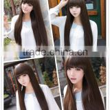 2015 Cosplay Party Long Straight Wigs Full dark brown Synthetic Hair Wig Fashion