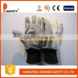 DDSAFETY 2017 Safety Glove Black Knit Wrist Cotton Drill With Black Polka Dots Working Safety Glove