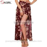 High waist boho flower print split long maxi beach chic vintage 2017 summer women skirts