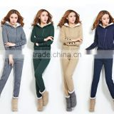 OEM Wholesale Cotton Fleece Slim fit Lightweight Tracksuit Women with Hood latest design tracksuit women