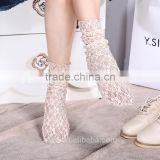 WS-16 Durable 2017 Acrylic+Lace Sock Women's Long Lace Socks Thin Transparent Thin Silk Socks