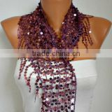 Sequin Floral Scarf Shawl Scarf - Bellydance - Cowl Scarf Women's Fashion Accessories