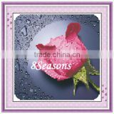 Handmade Pink Flower Pattern Embroidery Diamond Painting DIY Kit Cross Stitch For Living Room 34cmx5cm