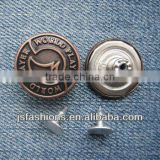 Letter printed rust color brass jeans button, fashion brass shank button for denim clothes