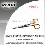 Mayo Operating Scissors Tungstens Blade Half gold 14cm,Surgical Bandage Mayo Operating Scissors Tungstens Blade Half gold 14cm