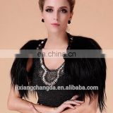 Womens clothes black long hair goat fur cape shawl European style
