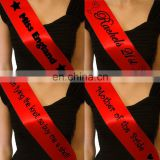 Customized Personalized red satin Sash for Bachelorette Parties or Birthdays or Proms Pageants