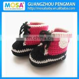 Infant and Toddler Crochet Sport Shoes Black and White Red