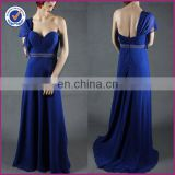 simple design royal blue one-shoulder sweat heart neckline sweep train evening dress 2014