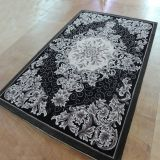 Black And White Rug Floral Motif  Hand Tufted Carpet Rug Living Room