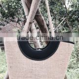 High quality best selling natural sesgrass shopping bag with black cotton cover in the mouth vietnam