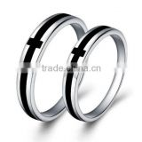 Silver Plated Wedding Rings Mens Womens Black Agate Strip Cross Rings for Couples
