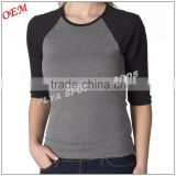 Adults Plain Baseball Athletic Crew Neck Cotton Long or 3/4 Sleeve 100% Cotton Tee Shirt