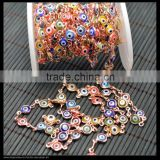 LFD-0014C ~ Wholesale DIY Rose Gold Wire Wrapped Mixed Color Evil Eye Stone Chain Beaded Jewelry Finding